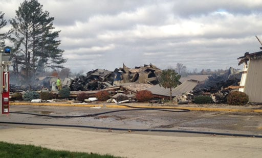 The scene at Dungey's Furniture in New Hampton on Tuesday morning. (Nikki Newbrough, KWWL)