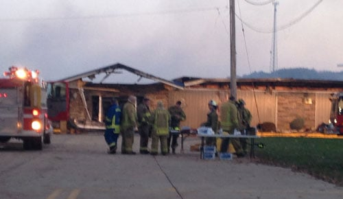 Dungey's Furniture in New Hampton after an Oct. 28 fire that destroyed it. (Lauren Moss, KWWL)