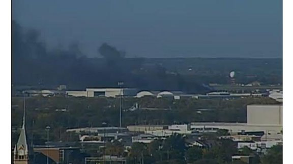 First image of the plane crash at Mid-Continent Airport in Wichita, Kansas (Courtesy KSN)
