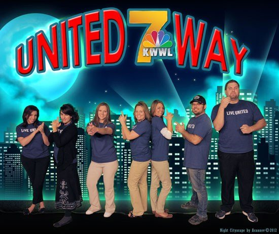 KWWL United Way committee members from 2014, from left, Teal Jennings, Amie Steffeneicher, Miranda Steimel, Sandy Youngblut, Tracy Roberts, LC Bergman and Michael Mennen. NP: James Buchholz, Jaclyne Heller, Ron Steele (Photo/design Chris Hussey, KWWL)