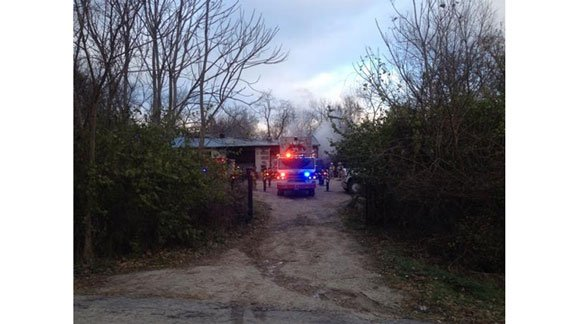 Emergency crews at the scene of a structure fire on Mt. Vernon Rd. SE in Cedar Rapids Tuesday afternoon. (Michelle Corless, KWWL)