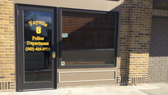 Fayette Police Department on Friday morning, doors locked and blinds drawn. (Olivia Mancino, KWWL)