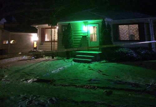 The crime scene at 1826 W. 3rd St. in Waterloo on Tuesday evening. (Michael Crowe, KWWL)