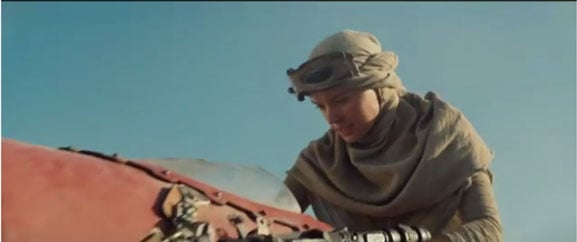 "A still from the first teaser trailer for ""Star Wars Episode VII: The Force Awakens"""