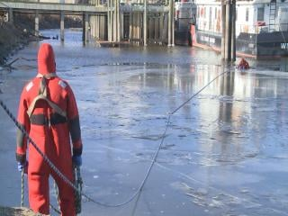 Dubuque Fire Department practices cold water rescue Wednesday.