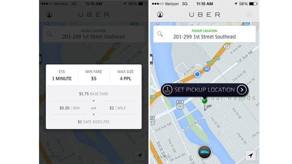 Screenshots of the Uber app in Cedar Rapids. (Michelle Corless, KWWL)