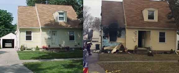 Before and after photos of 1107 Cornwall Ave. (Black Hawk County Assessor's Office and Olivia Mancino, KWWL)