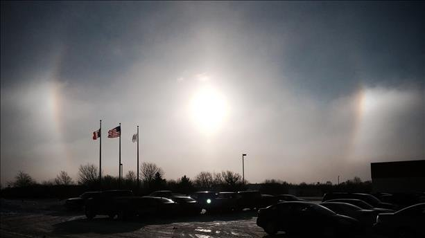 "A photo of a ""sun dog"" taken in Dubuque."