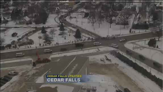 The presidential motorcade as it goes through Cedar Falls.