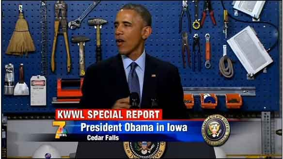 Obama speaks to the crowd at Cedar Falls Utilities on Wednesday afternoon, Jan. 14, 2015.