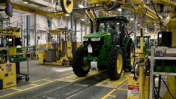 The inside of the tractor cab and assembly, taken in June of 2013 during one of Deere's Gold Key tours.