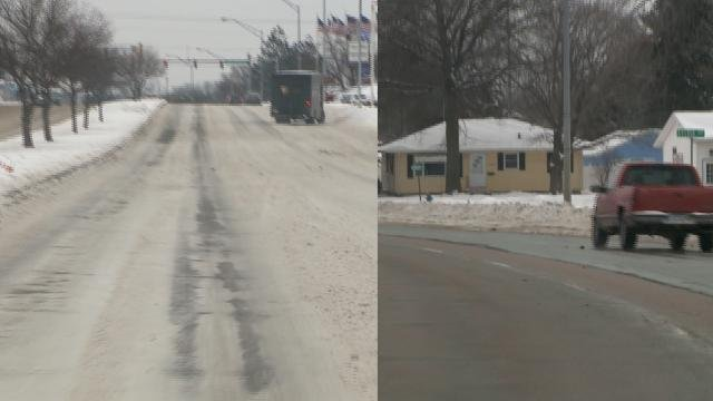 On the left is Cedar Falls-plowed University Ave.; on the right is IDOT-plowed University in Waterloo. (Blake Lybbert, KWWL)