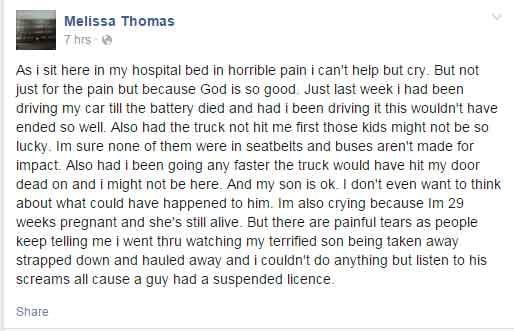Melissa Thomas's Facebook post after the crash
