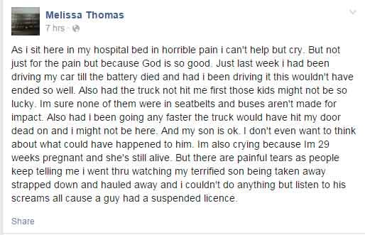 Melissa Thomas's Facebook post after the crash