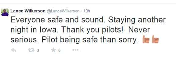 A tweet from Evansville play-by-play broadcaster Lance Wilkerson.