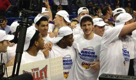 UNI celebrates their tournament win over Illinois State on Sunday, March 8. (Mark Woodley, KWWL)