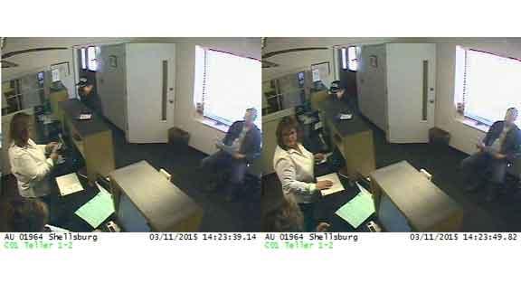 Surveillance photos from the Wells Fargo robbery in Shellsburg.