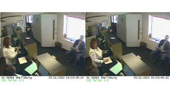 Surveillance photos from the Wells Fargo robbery in Shellsburg.