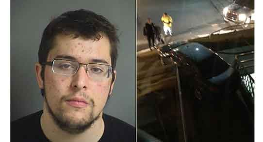 Brian Bordwell, 19, and his car on the ped bridge in Iowa City. (Courtesy Johnson County Jail for mugshot, Twitter user @BTanner15 for photo)