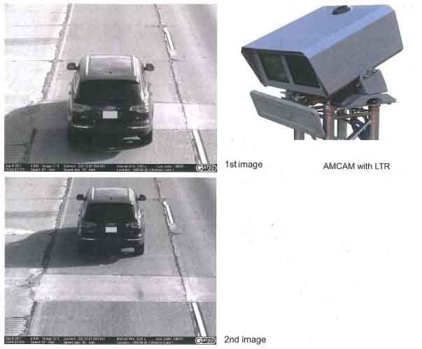 An example of the I-380 speed camera and the photos it takes.