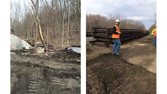 Charred trees -- and railroad track getting ready to be laid -- at the site weeks after a train derailed near Galena. (Olivia Mancino, KWWL)