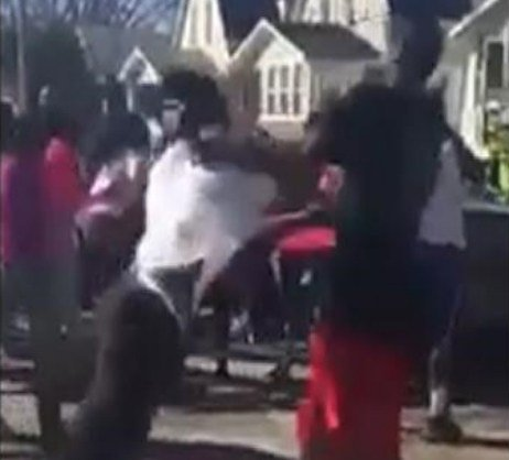 A screenshot of the Waterloo street brawl video.