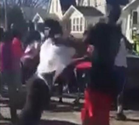 A screenshot of the Waterloo street brawl video.
