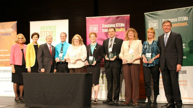 Members of the STEM Council congratulate the six inaugural recipients of the STEM Education Award for Inspired Teaching