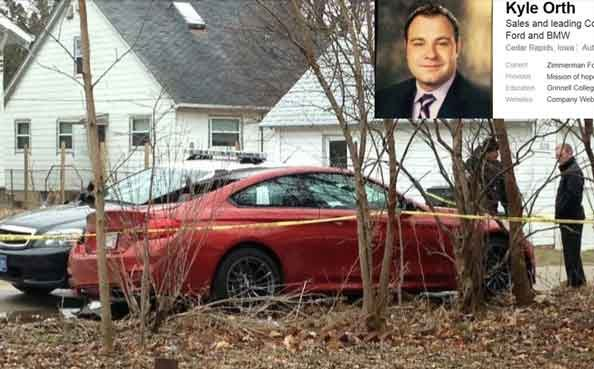 Kyle Orth's LinkedIn profile, and the bullet-ridden orange BMW he was driving.
