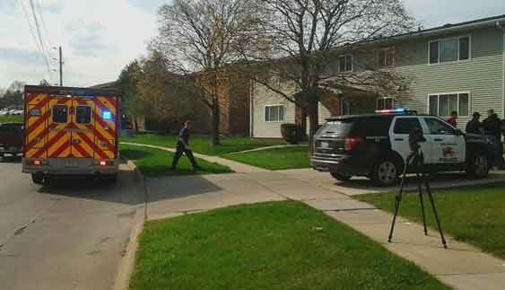 Waterloo Police investigate a report of a man with a machete Friday, April 17, 2015. (Marissa Hopper, KWWL)