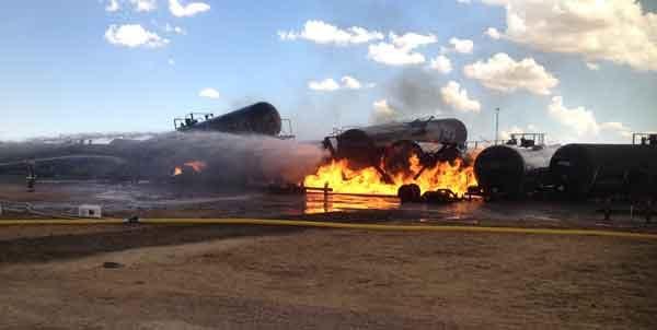 Dubuque firefighters train during a simulated derailment involving crude oil in Colorado in 2014.