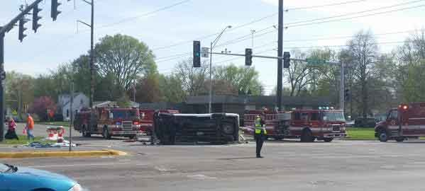 Photo of one of the vehicles involved in a Thursday afternoon crash in Waterloo. (Ally Crutcher, KWWL)