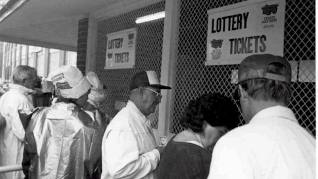 People lined up at the Iowa State Fair on Aug. 22, 1985 to buy the first lotto tickets