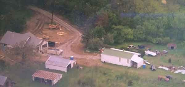 Aerial photo over the investigation site in Ely, taken May 8, 2015. (Michael Crowe, KWWL)