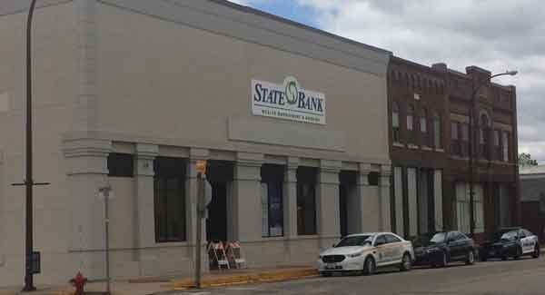 Photo of the Security State Bank in Calmar after it was robbed Tuesday, May 12. (Courtesy Zakary Kriener)