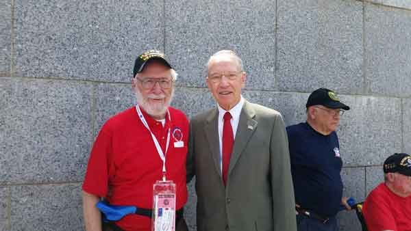 Sen. Charles Grassley with a veteran from Tuesday's Honor Flight.