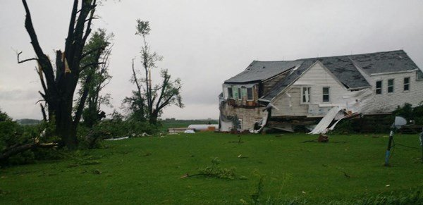 A home in Maynard severely damaged by storms June 22, 2015. (Lauren Moss, KWWL)