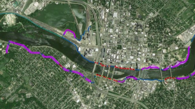 The purple lines will be levees, blue lines will be permanent walls, yellow parts will be gates and red dashed lines will be removable walls.