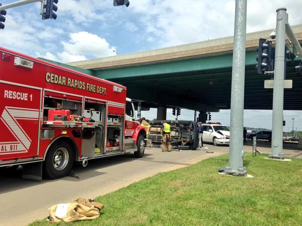 The scene of the crash in downtown Cedar Rapids. (Kristin Rogers, KWWL)
