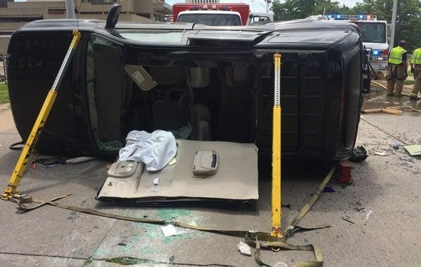 The scene of the crash in downtown Cedar Rapids. (Marchelle Rzepka, KWWL)