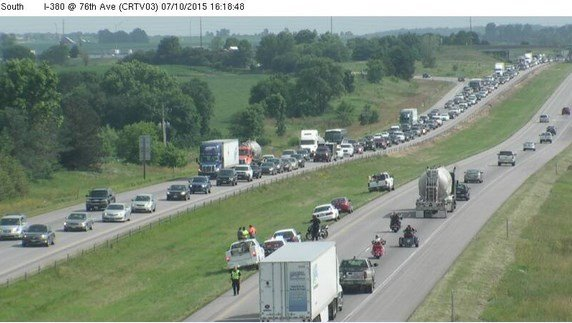 An Iowa DOT camera showing the scene of the crash Friday, July 10, 2015.