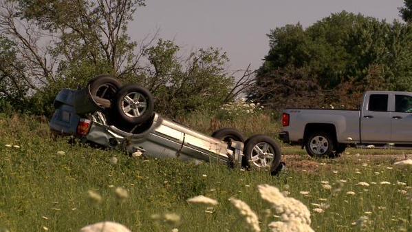The scene of the crash in Waterloo on Tuesday, July 14, 2015. (Blake Lybbert, KWWL)