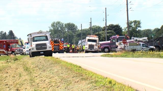 The scene of the crash on Hwy. 21 and Schrock Rd. in Waterloo Tuesday, July 14, 2015. (Sean O'Neal, KWWL)