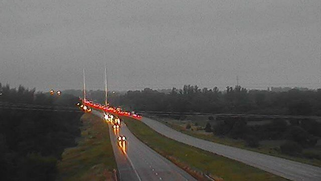 A camera from the Iowa DOT shows traffic backed up on I-380 due to the collision.