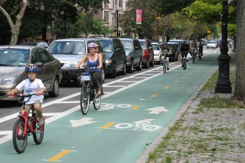 A similar bike lane in New York City