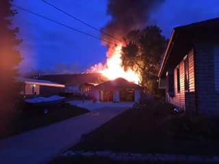 Fire at Donmar Lanes in Mt. Vernon on Sunday, Aug. 9, 2015. (Courtesy Damien Benedict)
