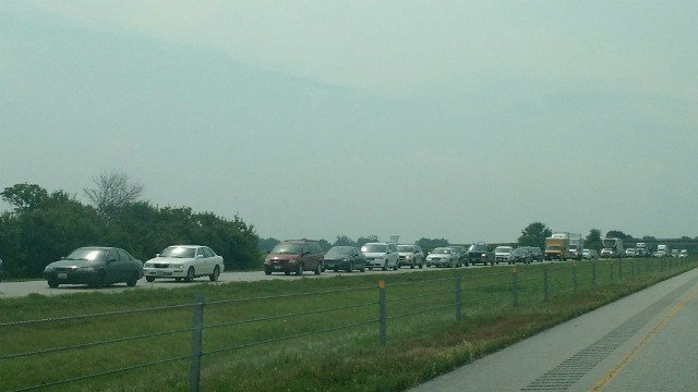 Traffic is backed up on I-380