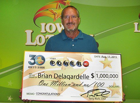 Brian Delagardelle, winner of $1 million from the Powerball drawing. (Courtesy Iowa Lottery)