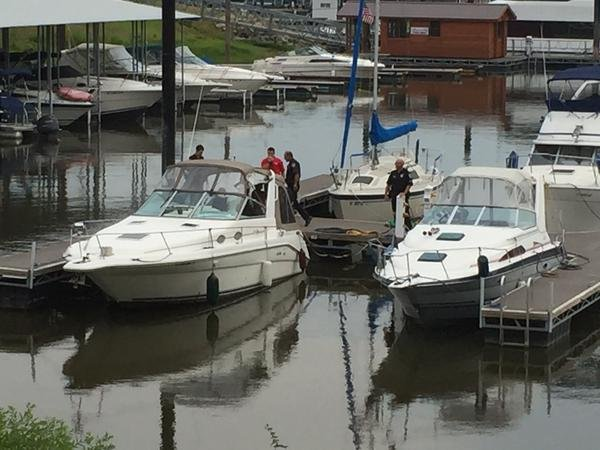 Dubuque Police investigate a case of shots fired at the Dubuque Marina on Monday, Aug. 17, 2015. (Shirley Descorbeth, KWWL)