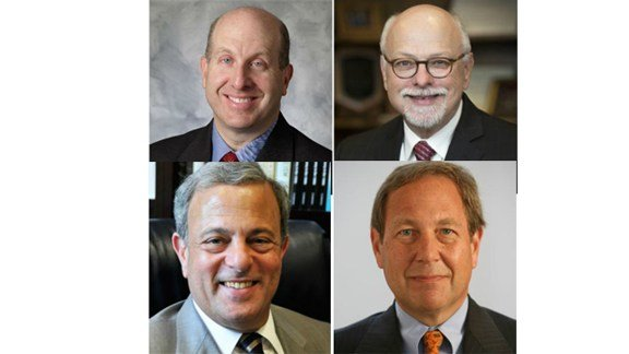 Four finalists for the U. of Iowa president job, clockwise from top left: Marvin Krislov, Joseph Steinmetz, J. Bruce Harreld and Michael Bernstein.